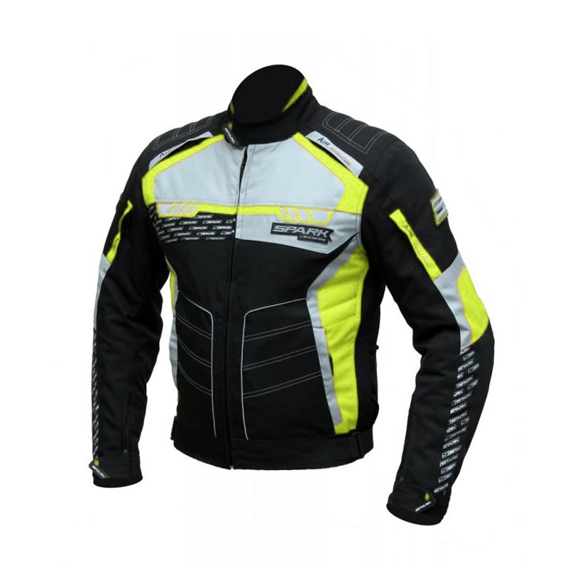 ded460781b Férfi textil motoros kabát Spark Mizzen - fekete-fluo. Vízálló ...