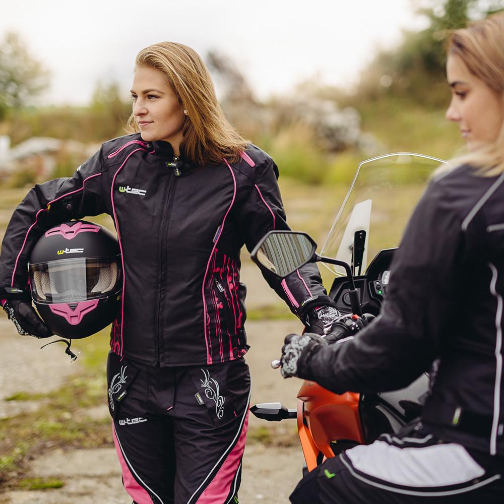 a13636aa0348 Női bőr motoros kesztyű W-TEC NF-4208 - fekete rózsaszín grafika.  Anatómiailag ...