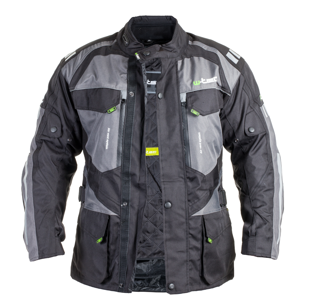 5608427484 Férfi motoros kabát W-TEC GS-1613 - fekete-szürke-zöld. Minőségi ...