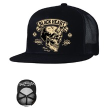 Baseball sapka BLACK HEART Devil Skull Trucker - fekete